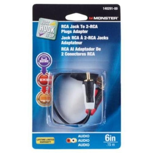 Adapter Y RCA 1F To 2M By Monster Jhiu MfrPartNo 140291-00