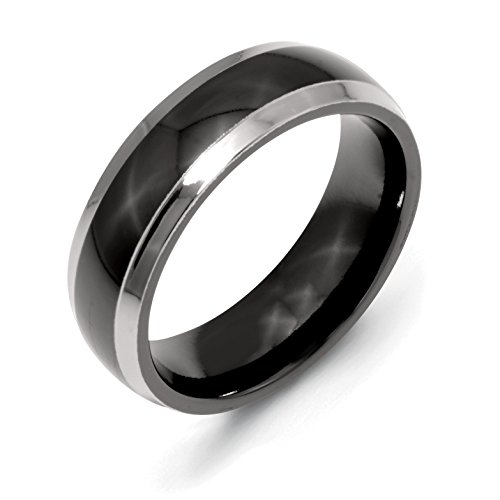 Chisel Two-Tone Polished Titanium Ring 7.0 MM With Wood Box Size 7.0 2