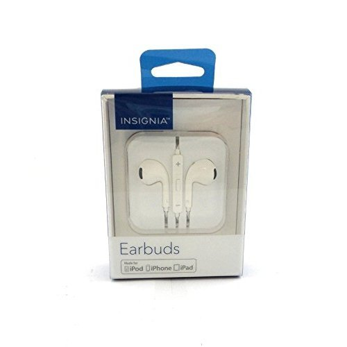 Insignia Earbuds Headphones In-Line Volume Control Microphone White NS