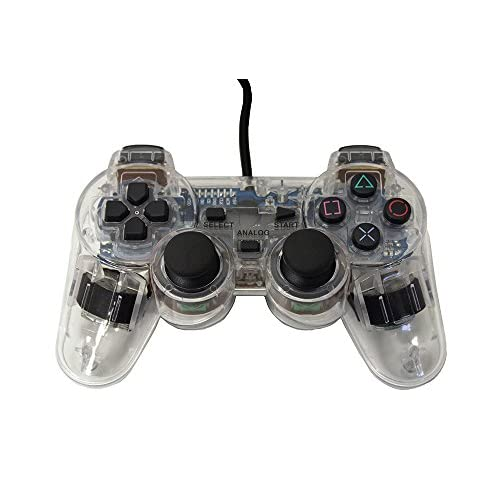 Image 0 of PS2 PlayStation 2 Wired Replacement Controller Transparent Clear By Mars Devices