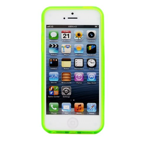 Image 2 of WoW iPhone 5 5S SE Tpu Clear Bumper Case Cover Green Fitted