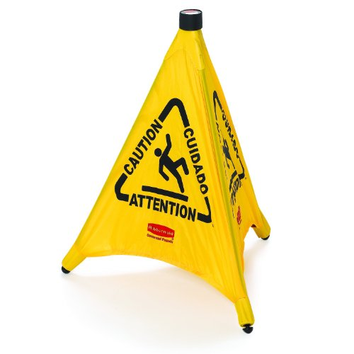 Rubbermaid Commercial Yellow Pop-Up Safety Cone With Multi-Lingual