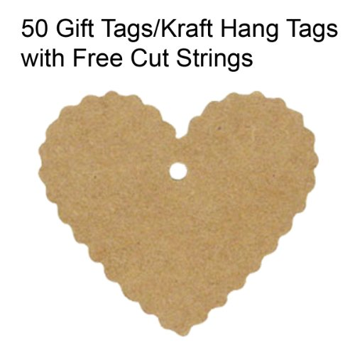 Wrapables 50 Gift Tags/Kraft Hang Tags With Free Cut Strings For Gifts