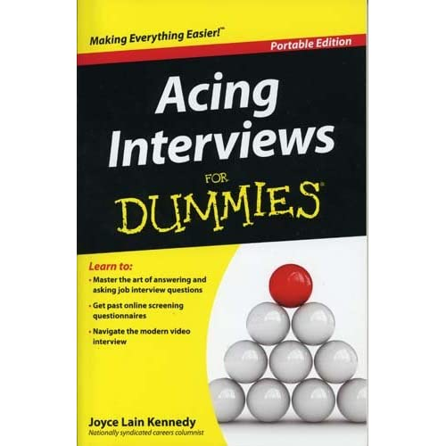 Acing Interviews For Dummies Job Career Book By Joyce Lain Kennedy