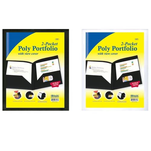 Bazic 2-POCKETS Poly Portfolio W/ View Cover