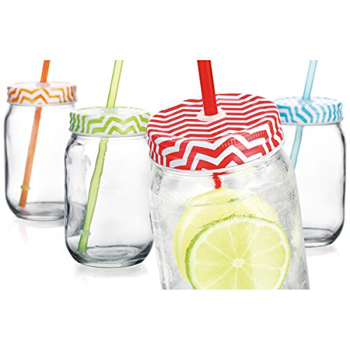 Home Essentials Chevron 16OZ Mason Jars w/ Straw Set Of 4