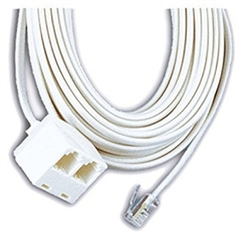Image 0 of GE 25 Ft Dual Jack Telephone Line Cord White