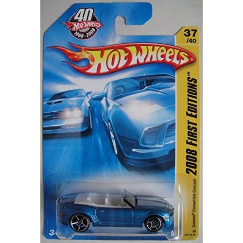 Hot Wheels 2008 First Editions Blue Camaro Convertible Concept 37/40 Toy