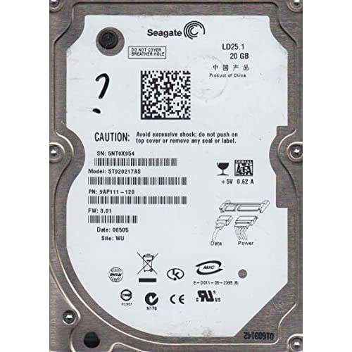 Image 0 of ST920217AS 5NT Wu Pn 9AP111-120 Fw 3.01 Seagate 20GB SATA 2.5 Hard Drive