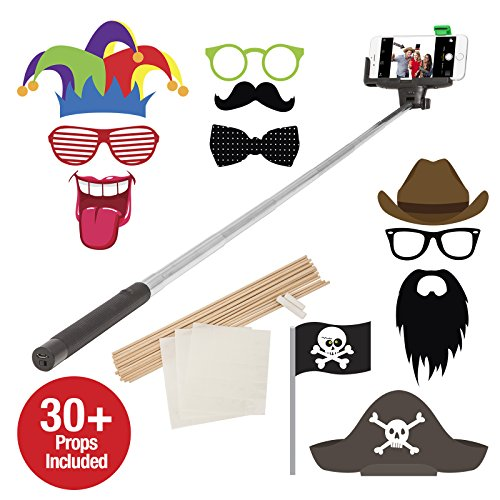 Bluetooth Selfie Photo Booth With 30 Props Black Wireless Etselfieppb
