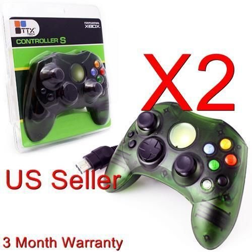 2 Lot Green Controller Control Pad For Original Microsoft Xbox X Box System