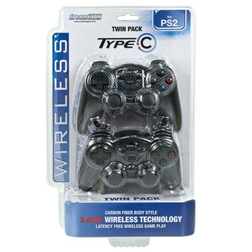 Image 0 of Type C Wireless Controller For PlayStation 2 PS2 Black Gamepad QEP053