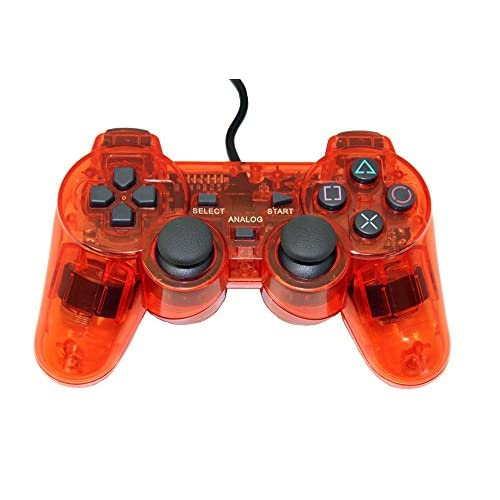 Image 0 of PlayStation 2 Wired Replacement Controller Transparent Red By Mars Devices