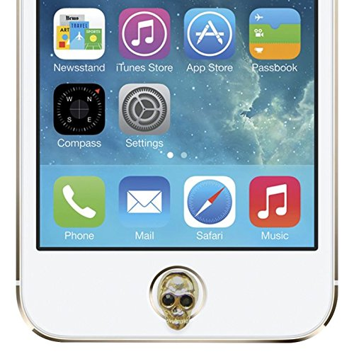 Agent 18 Apple Home Button Charm Gold Skull Screen Protector