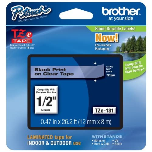 Brother International P-Touch Black On Clear Standard Laminated Tape