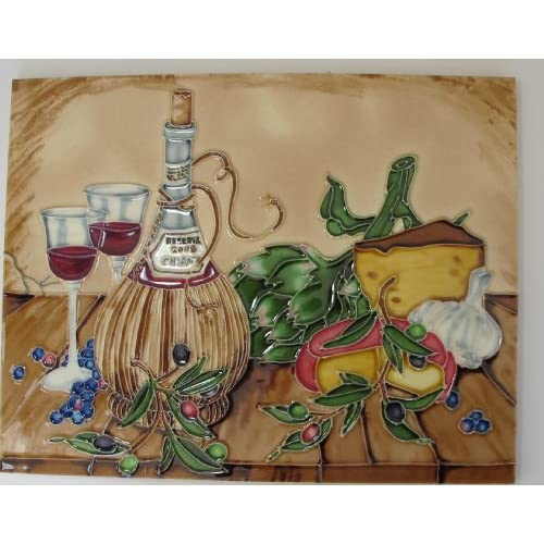 Wall Decor 11 X 14 Set Of Two Wine Glasses And Bottle Of Wine Ceramic
