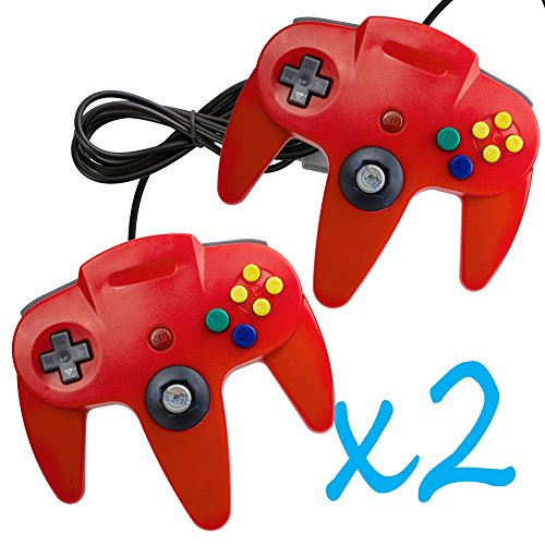Image 0 of 2 PCS Long Controller Game System For Nintendo 64 Red For N64 Made in USA