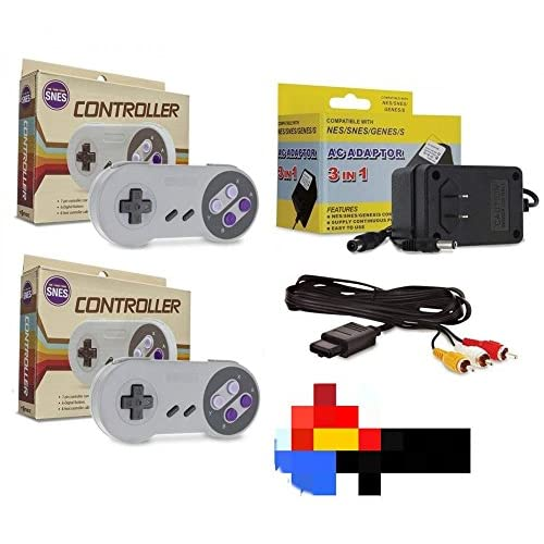 SNES Bundle 2 Controllers AC Adapter Power Cord & AV Cable Super Nintendo