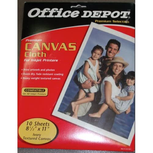 Office depot inkjet canvas cloth paper pack of 10 sheets for Office depot shirt printing