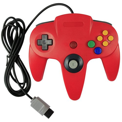 Image 0 of Generic Wired Game Controller For N64 Color Red Nintendo