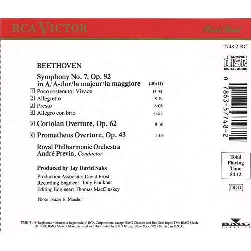 Image 2 of Beethoven: Symphony No 7/CORIOLAN And Prometheus Overtures By Ludwig