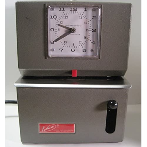 Image 0 of Lathem Electric Time Clock With Handle Activation Olive Model 2121