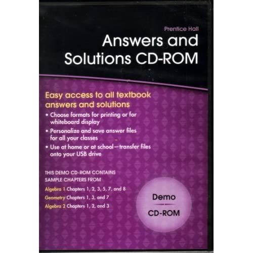 Answers And Solutions Cd-Rom Demo Software Mathematics
