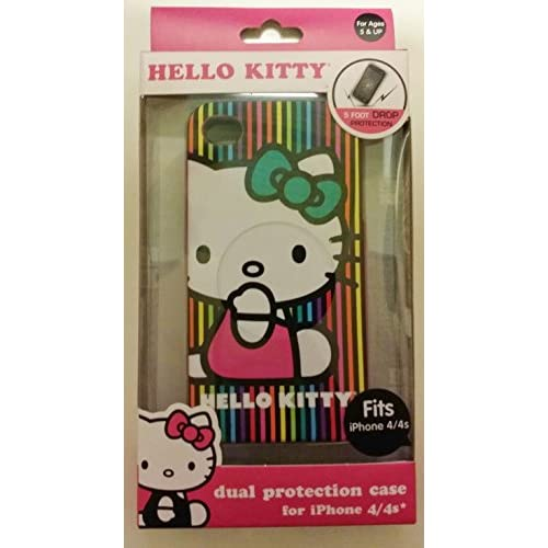 Hello Kitty iPhone 4/4S Lines Case Pink Cover Multi-Color Fitted HKVL