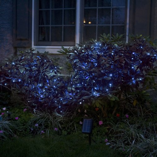 Aleko Solar Powered 35-FOOT Holiday String Lights 100 LED Blue Bulb