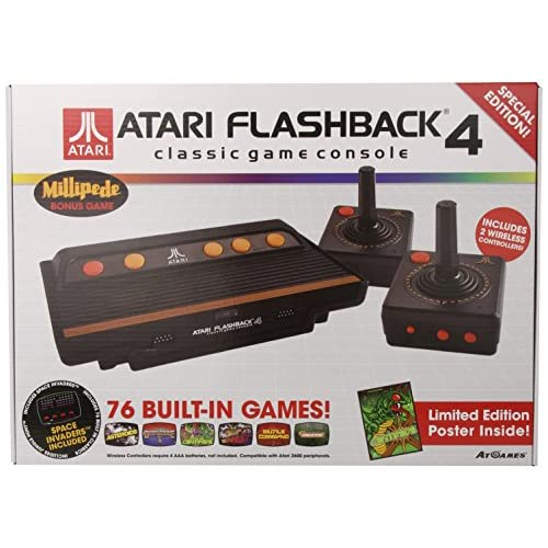 Atari Flashback 4 Retro Game Console Electronic Games Vintage Black Home