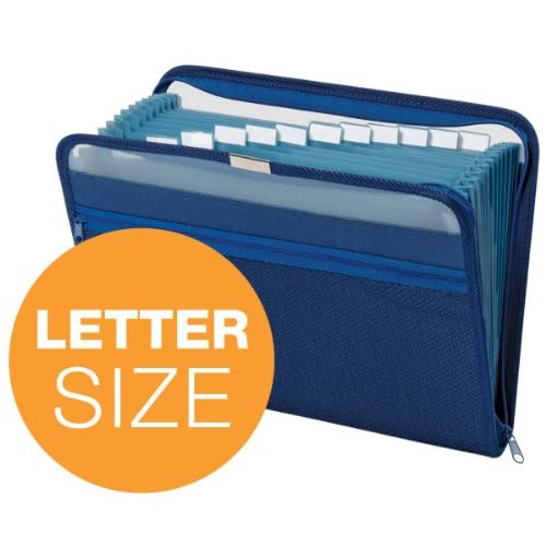 Image 2 of Globe-Weis 13-POCKET Fabric Expanding Zip File Letter Size Dark Blue