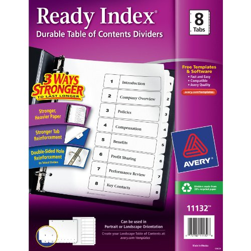 Avery Ready Index Table Of Contents Dividers Eight Tab 1-8 Black/White