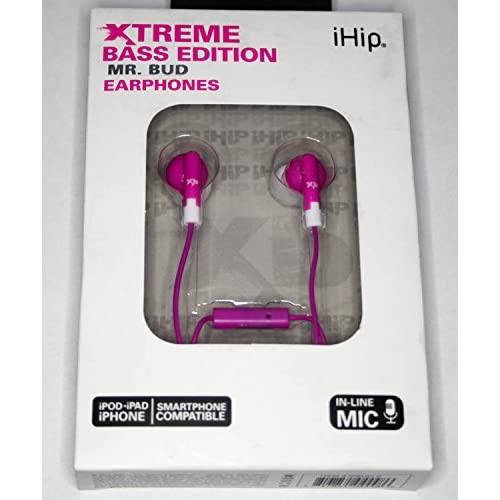 iHip Xtreme Bass Edition Mr Bud Earphones Pink Headphones
