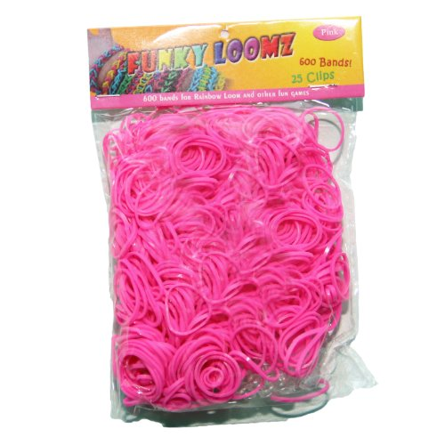 Funky Loomz Rubber Band Refills 600 Bands +25 S-Clips Pink