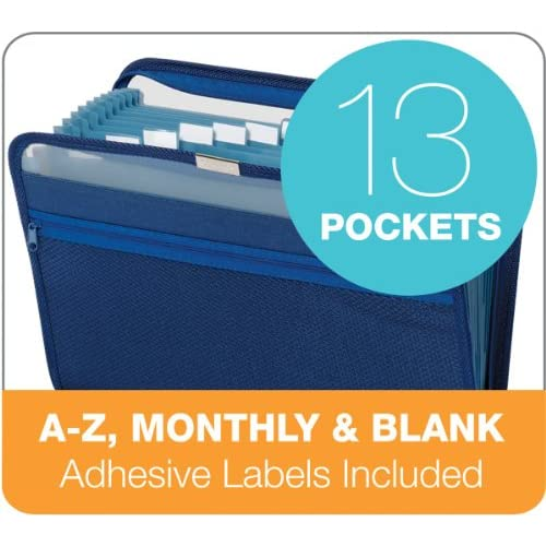 Image 3 of Globe-Weis 13-POCKET Fabric Expanding Zip File Letter Size Dark Blue