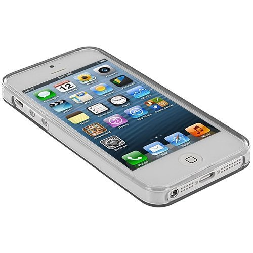 Image 2 of Clear Plain Rubber Skin Case Cover For Apple iPhone 5 5S SE