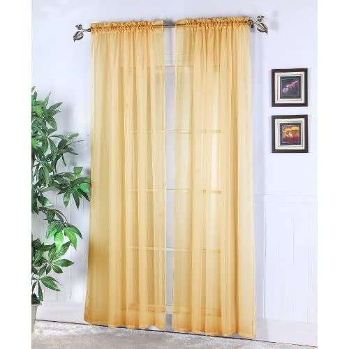 Chic Home Abby 2-Pack Rod Pocket Window Panel Gold