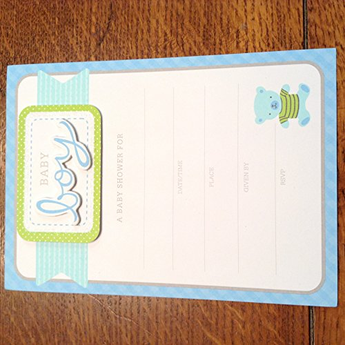 3D Baby Boy Baby Shower Invitation 8 Count