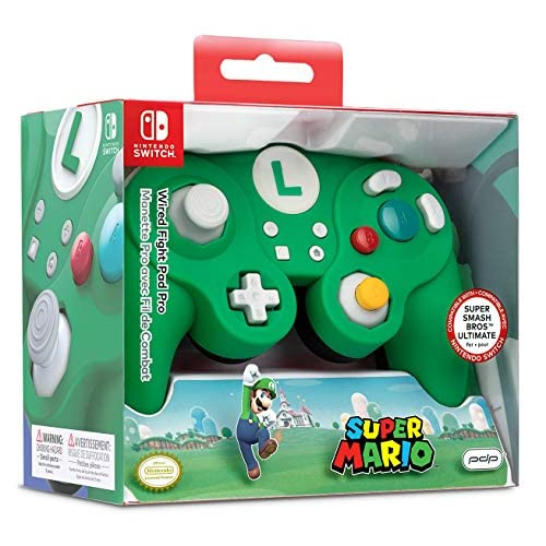 Image 0 of Super Mario Bros Luigi GameCube Style Wired Fight Pad Pro Controller By PDP 500-