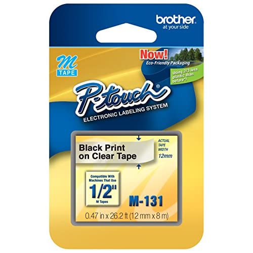 Brother P-Touch -1/2 0.47 Black On Clear Tape 26.2 Ft 8M M131