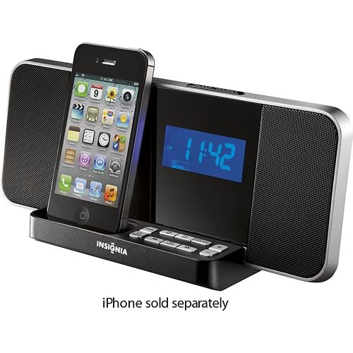 insignia ns clip02 am fm digital alarm clock radio ipod iphone dock. Black Bedroom Furniture Sets. Home Design Ideas