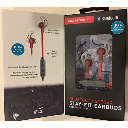 Bluetooth Stereo Stay-Fit Earbuds Red Earphones Headphones Wireless