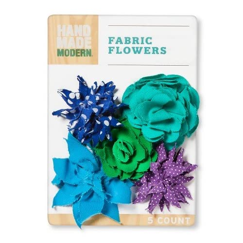 Hand Made Modern Canvas Fabric Flowers Cool Colors