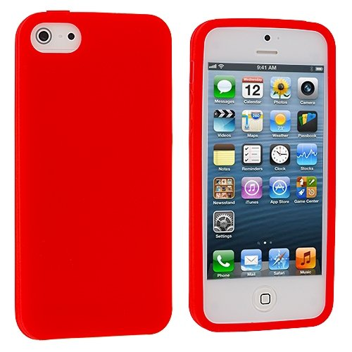 Image 2 of Red Silicone Rubber Gel Soft Skin Case Cover For Apple iPhone 5 5S SE