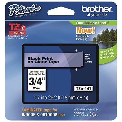 Brother Tape 3/4 Inch Black On Clear TZE141