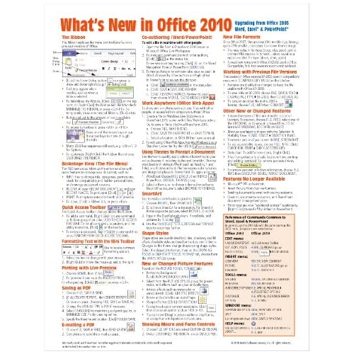 What's In Microsoft Office 2010 From 2003 Quick Reference Guide Cheat