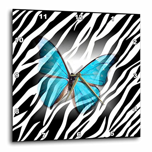 3DROSE Dpp 38928 1 Turquoise Butterfly On Zebra Wall Clock 10 By 10