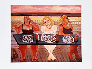 Three Women Eating Oysters at Beach by Stephan Basso