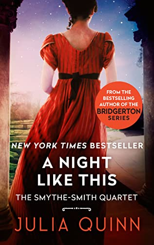 A Night Like This - There's the back of a girl in a blue dress running away wearing pink shoes. A lot of Quinn's covers feature colorful shoes as the centerpiece of color in the art.