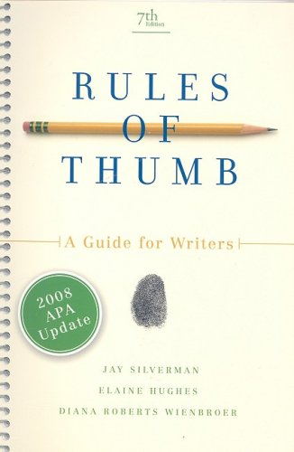 Rules of Thumb, APA Update Edition, Silverman, Jay; Hughes, Elaine; Wienbroer, Diana Roberts
